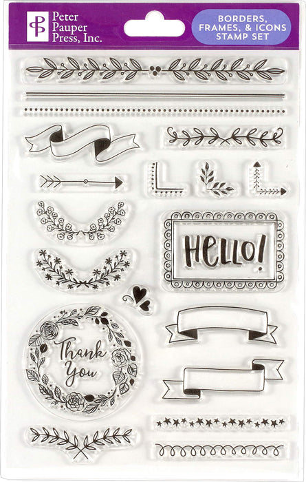 Borders, Frames, & Icons Clear Stamp Set