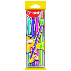 Maped Ice Fun Ball Point Pens X4 Assorted