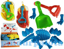Plastic sand toys with sand forms, shovel and rake