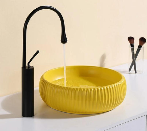 Yellow White Bowl Vessel Modern Washing Basin
