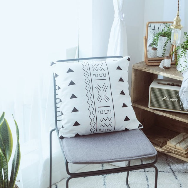 Black & White Moroccan Cushion Cover