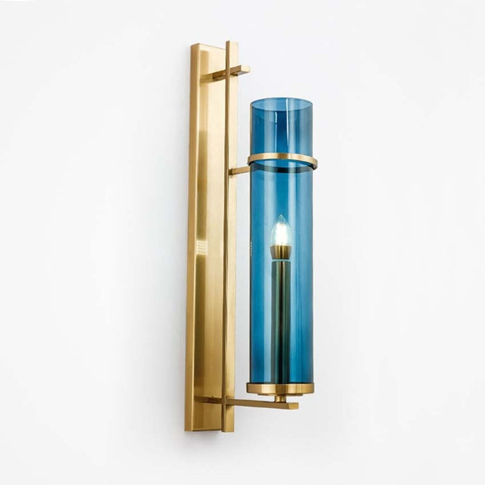 Brass & Blue Glass Tube Wall Lamp - Best Goodie Shop