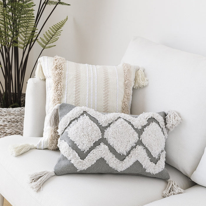 Moroccan Style Tufted Tassel Pillow Case