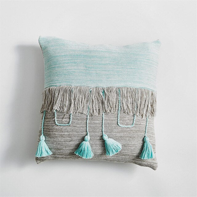 Handcrafted Patchwork Tassels Boho Throw Pillow Case