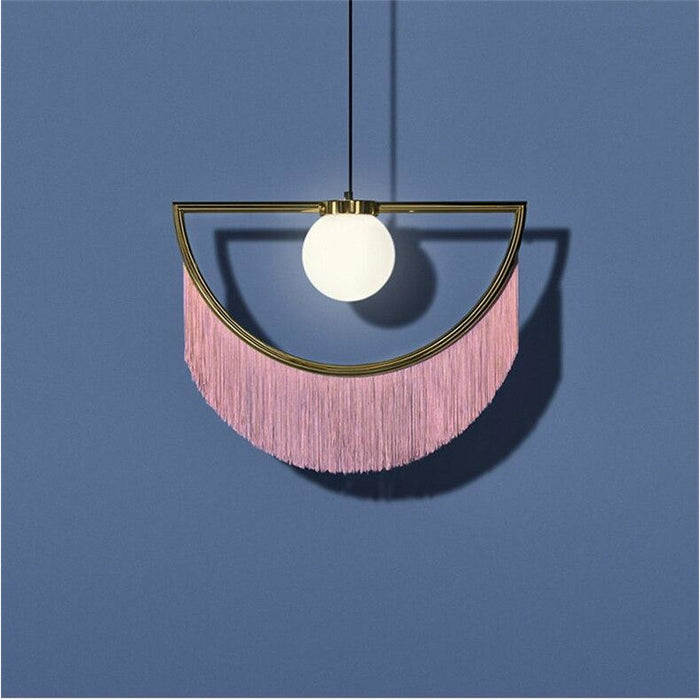 CAROLINE Pendant Light Pink Fringes