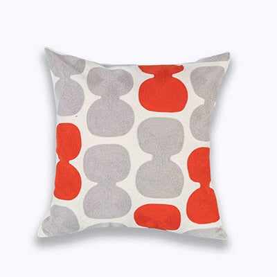 Geometric Canvas Cotton Square Embroidery Pillow Cover
