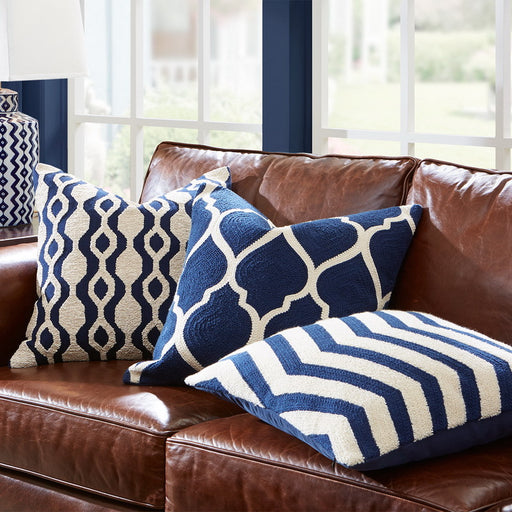 Embroidered Navy Blue Cushion Cover
