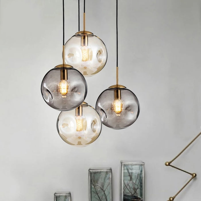Dimpled Glass Shade Brass Pendant Light - Best Goodie Shop
