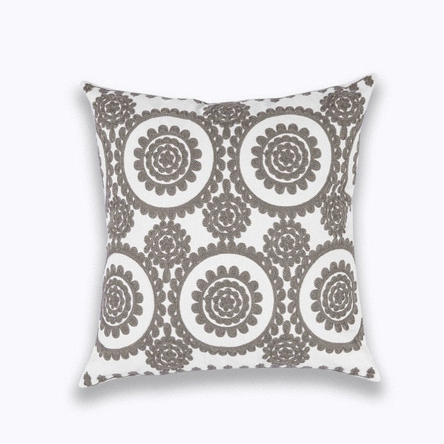 Square Embroidery Pillow Cover