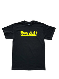Yellow logo black t-shirt