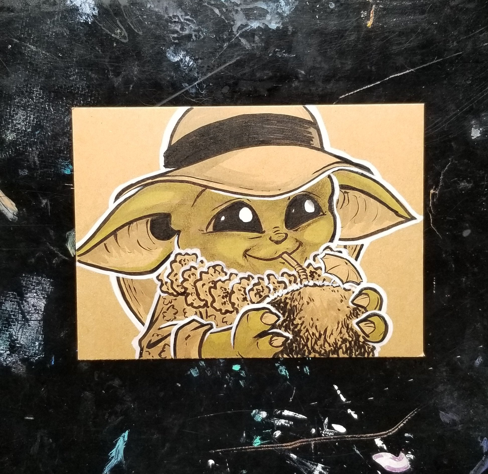 Beach Baby Yoda 5x7 Brown Paper Original