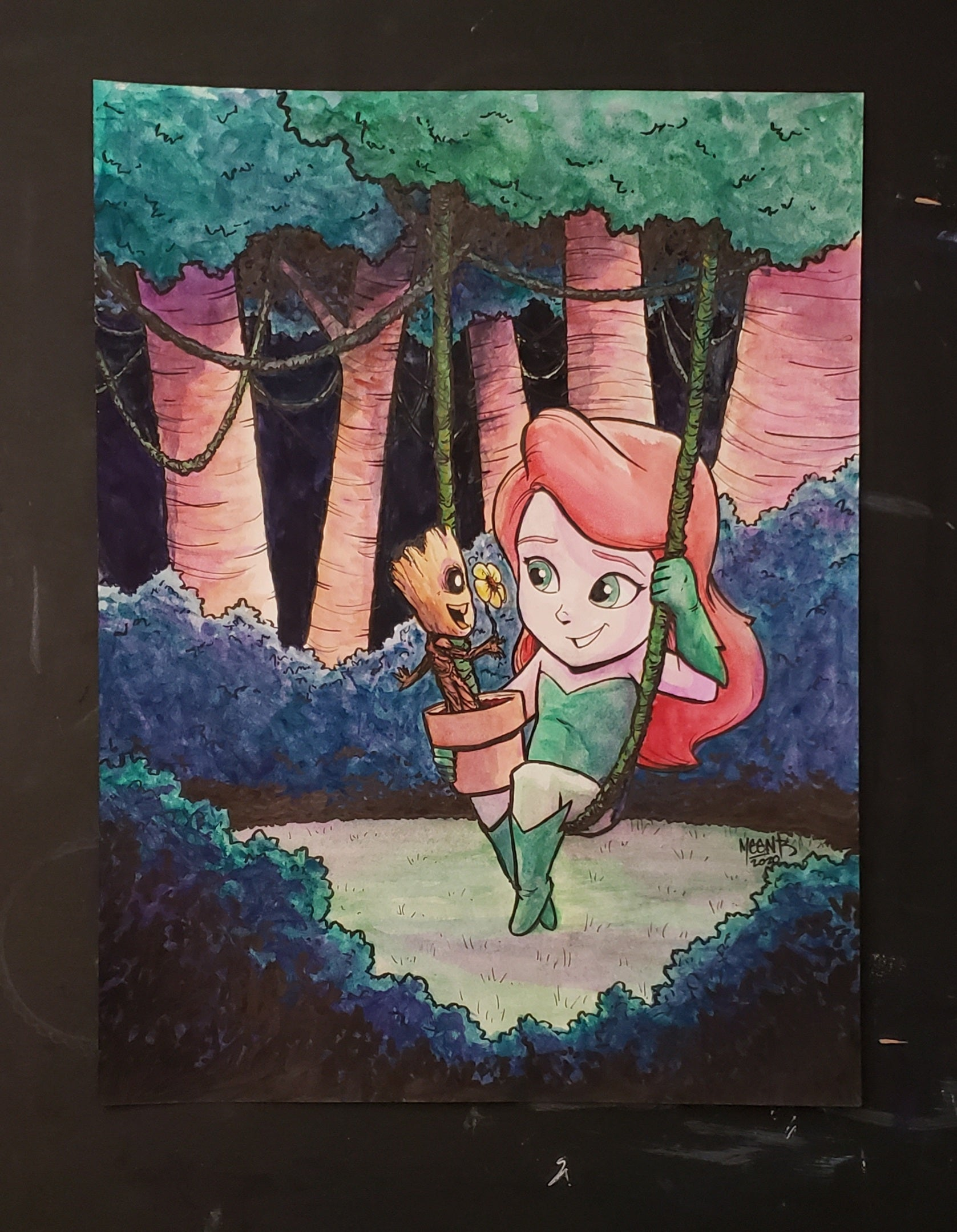 "Baby Groot & Poison Ivy 9x12"" Watercolor Original"