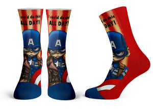 Captain America - Streetwear Full Poly Crew Socks
