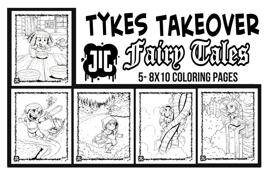 Tykes Fairy Tales Coloring Pages- Set of 5