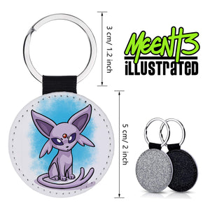 Espeon - Character Art - PU Leather Keychain Round with Keyring