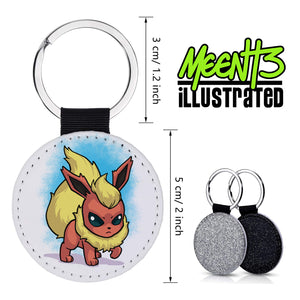 Flareon - Character Art - PU Leather Keychain Round with Keyring