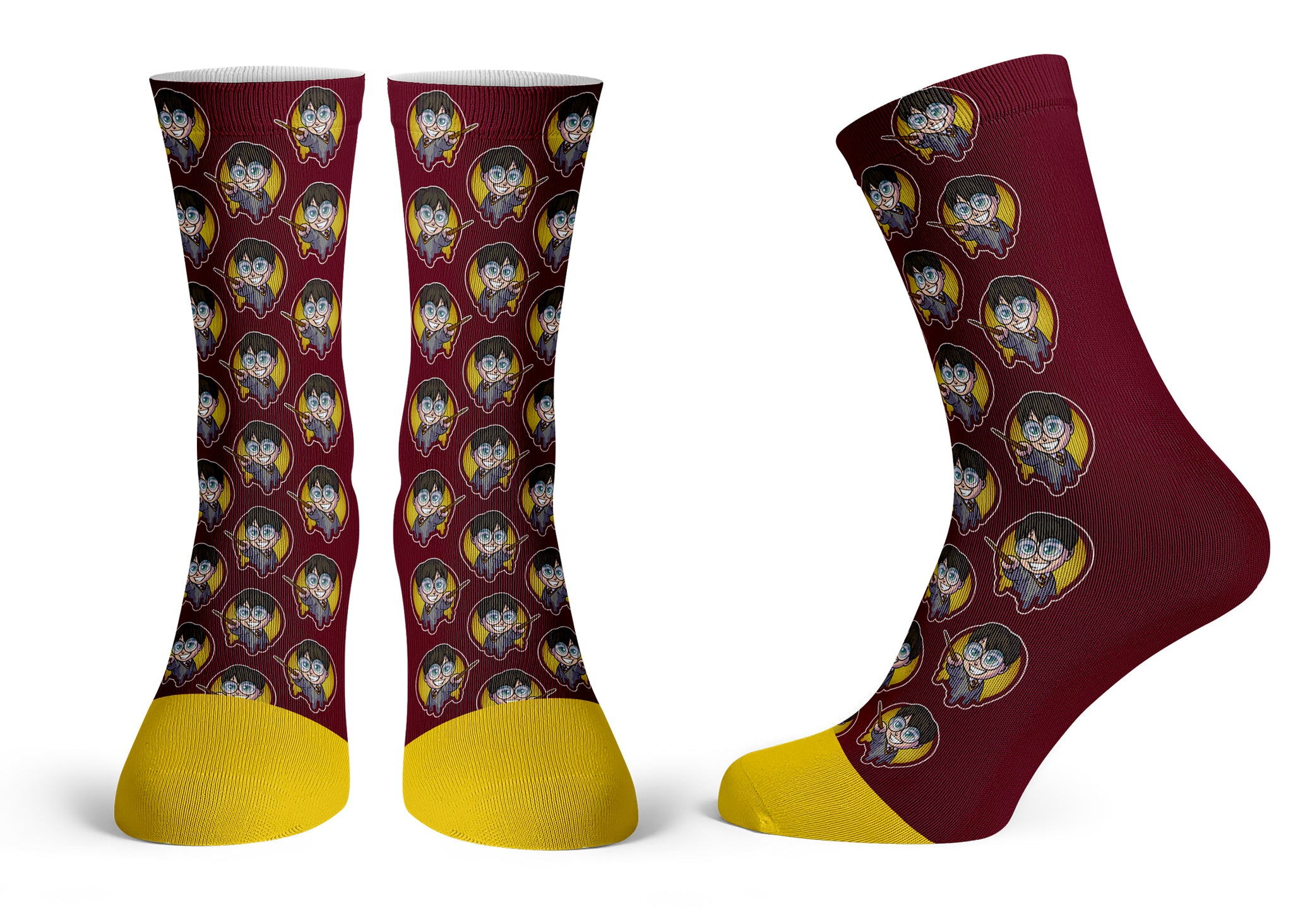 Harry Potter Pattern - Streetwear Full Poly Crew Socks