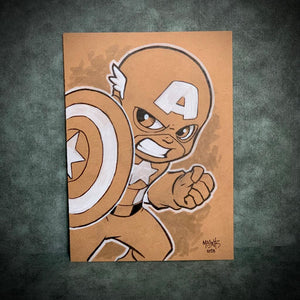 Captain America 5x7 Brown Paper Original
