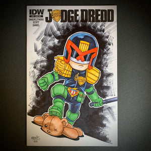 Judge Dredd Comic Sketch Cover