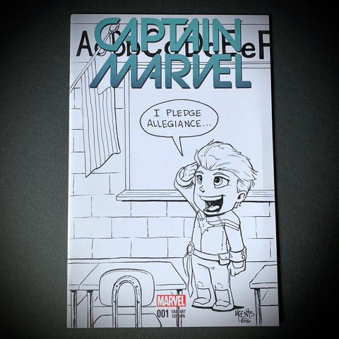 Captain Marvel Comic Sketch Cover