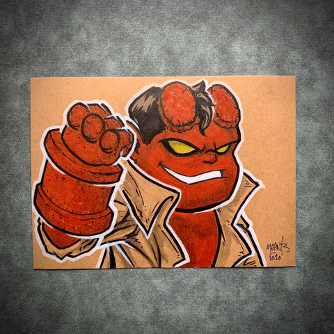 Hellboy 5x7 Brown Paper Original