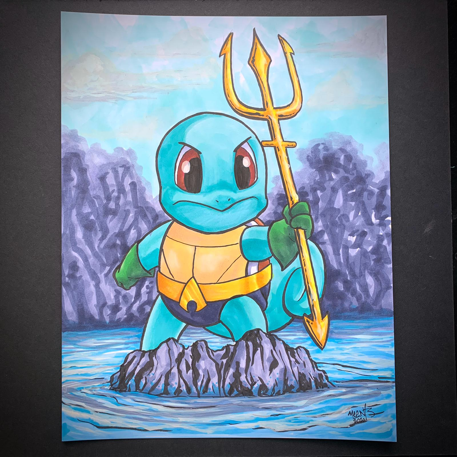 Squirtle Aquaman Mashup 9x12 Bristol Board Originals