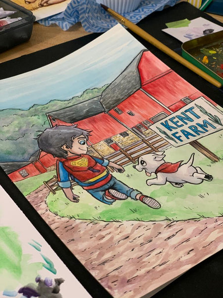 "Superboy & Krypto 9x12"" Watercolor Original"