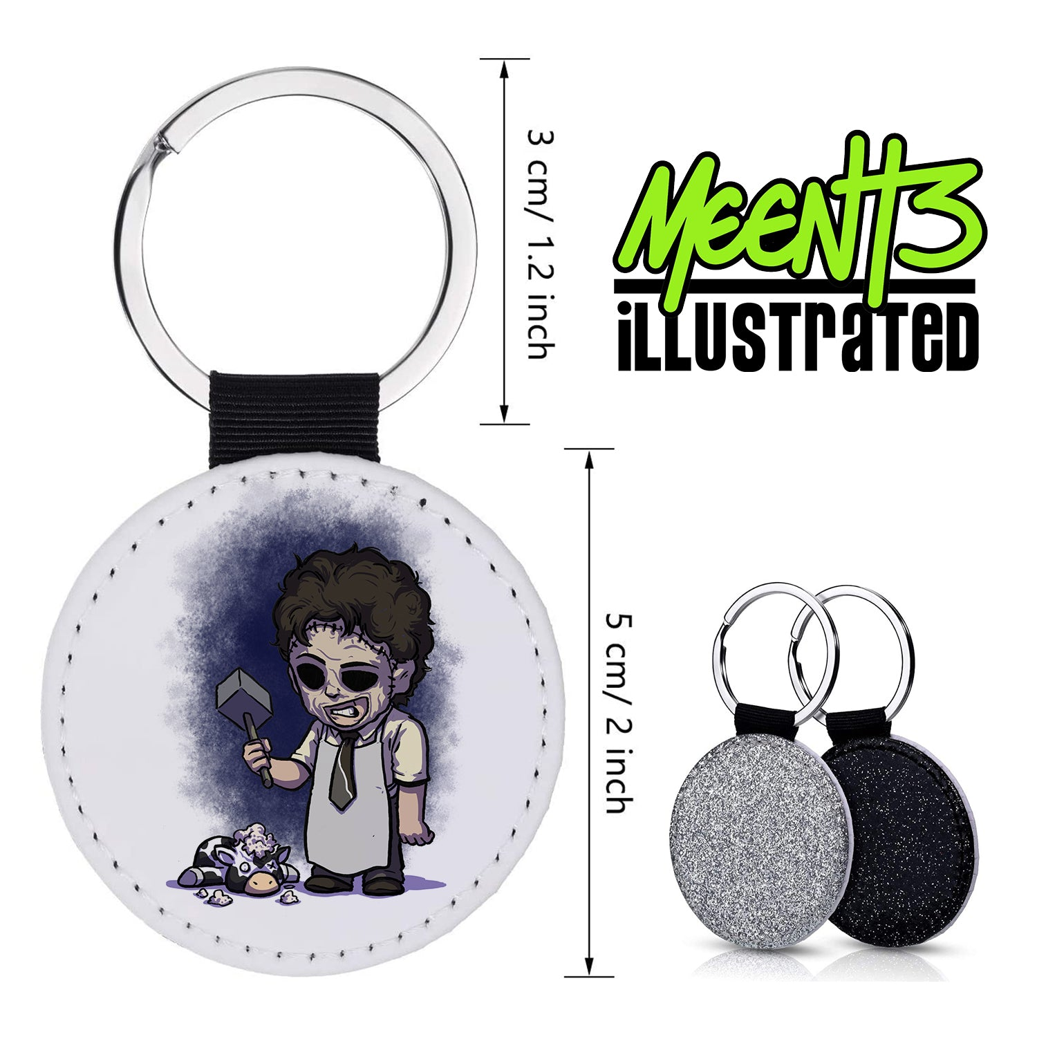 Leatherface - Character Art - PU Leather Keychain Round with Keyring