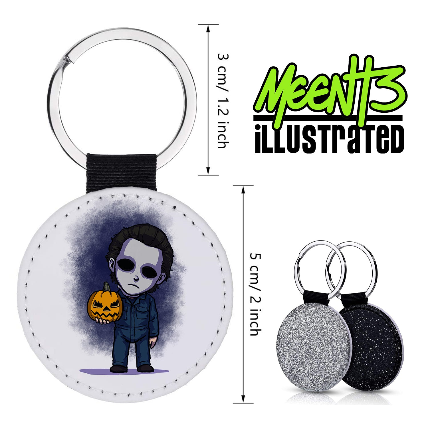 Mike Myers - Character Art - PU Leather Keychain Round with Keyring