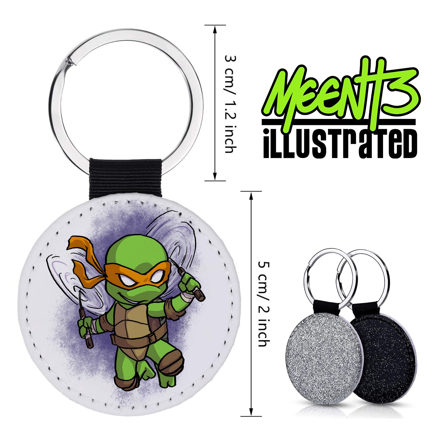 Mikey - Character Art - PU Leather Keychain Round with Keyring