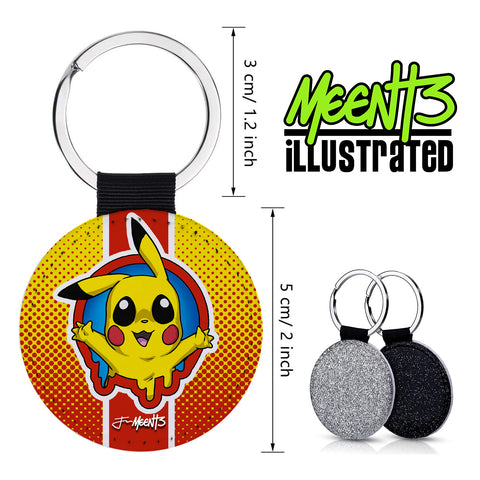 Pika - Spotlight Series - PU Leather Keychain Round with Keyring