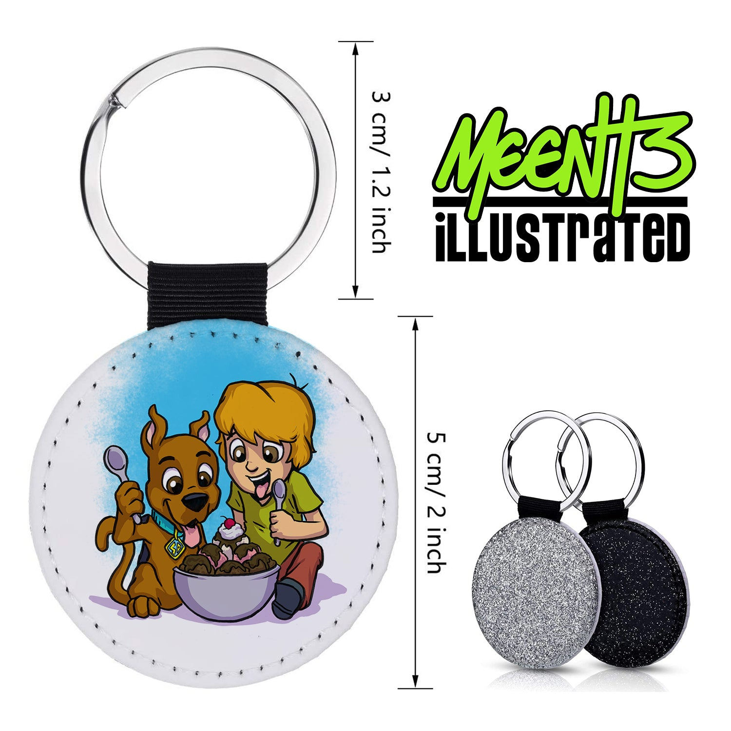 Shag and Scooby - Character Art - PU Leather Keychain Round with Keyring