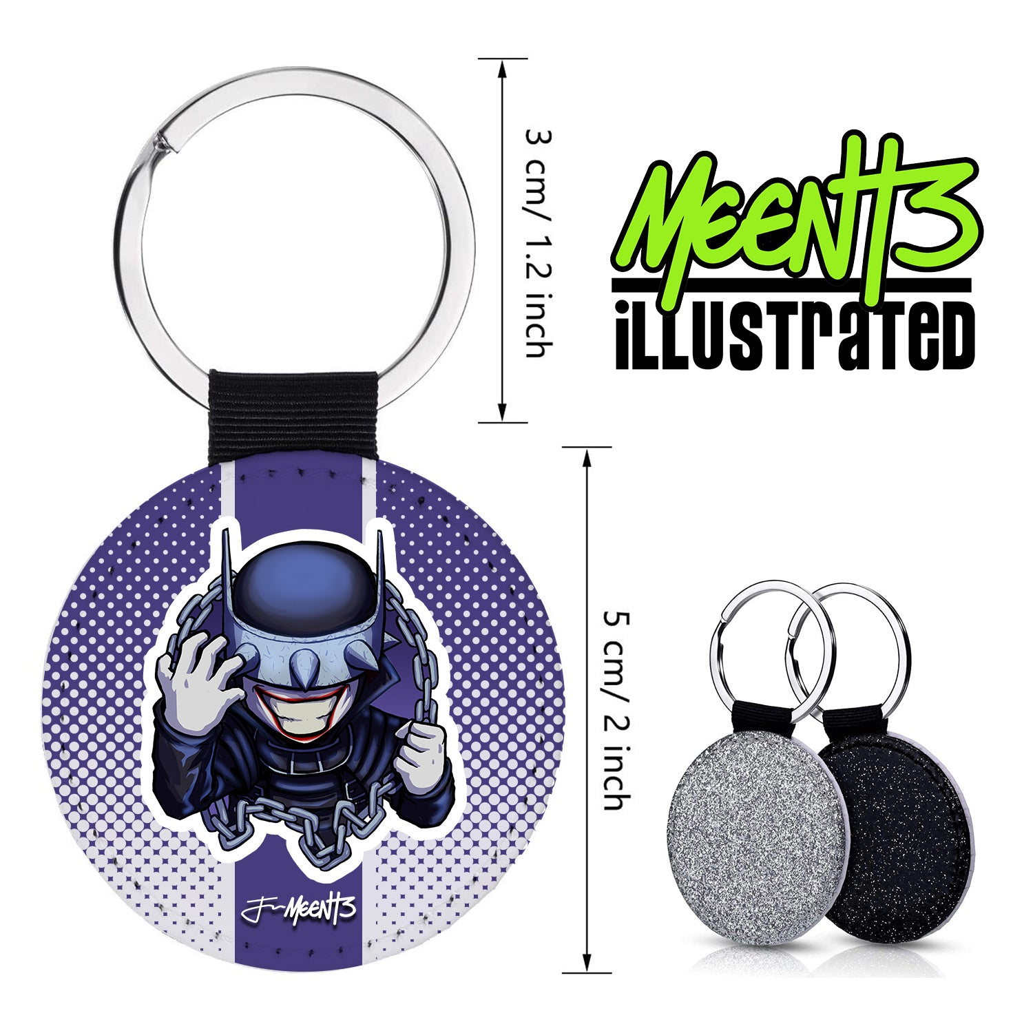 Bat Who Laughs - Spotlight Series - PU Leather Keychain Round with Keyring