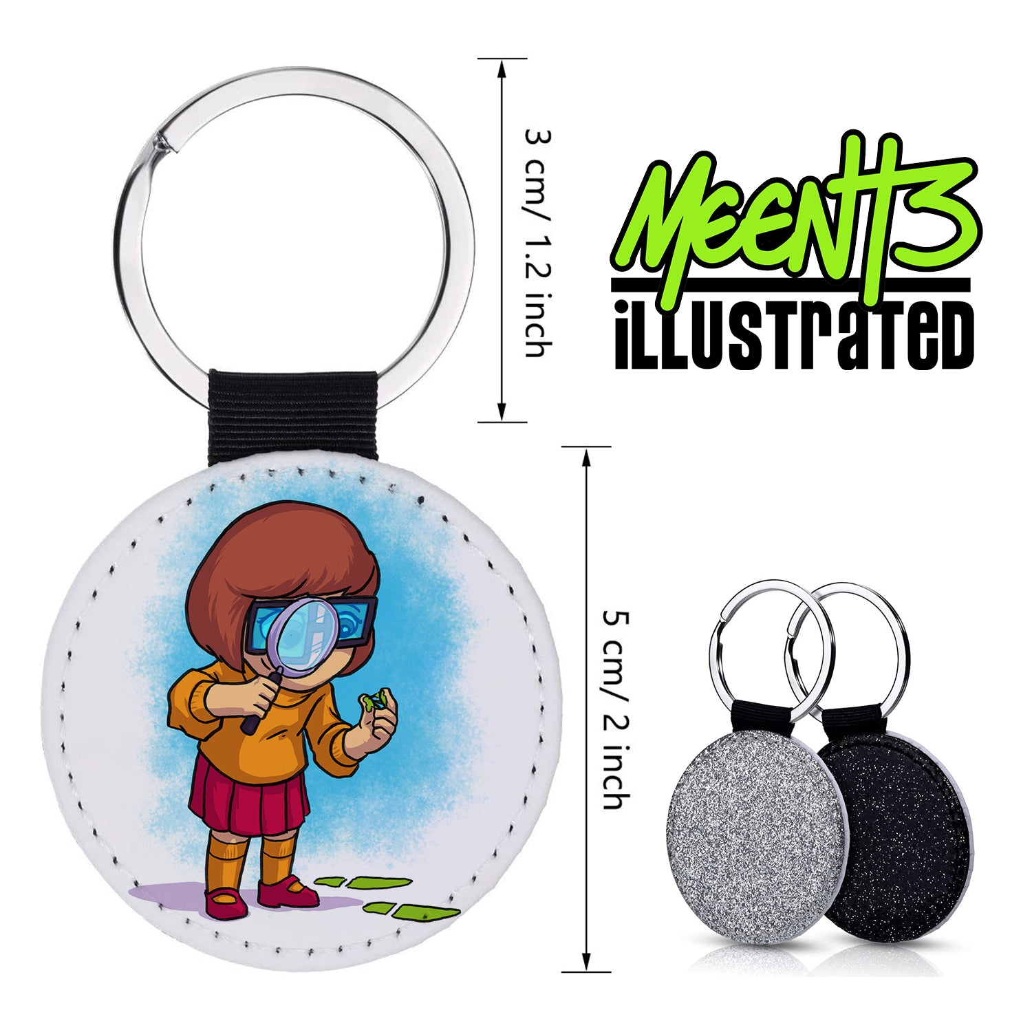 Velma - Character Art - PU Leather Keychain Round with Keyring