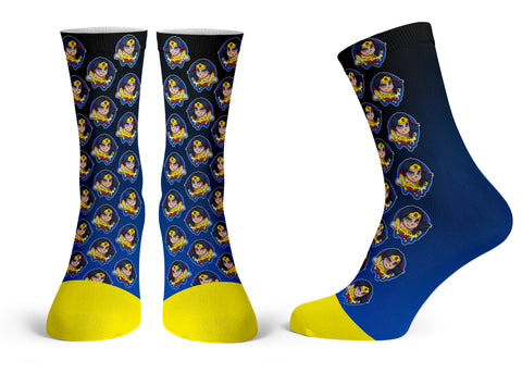 Wonder Woman Pattern - Streetwear Full Poly Crew Socks