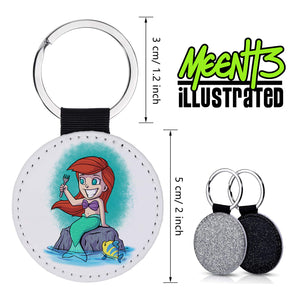 Ariel - Character Art - PU Leather Keychain Round with Keyring