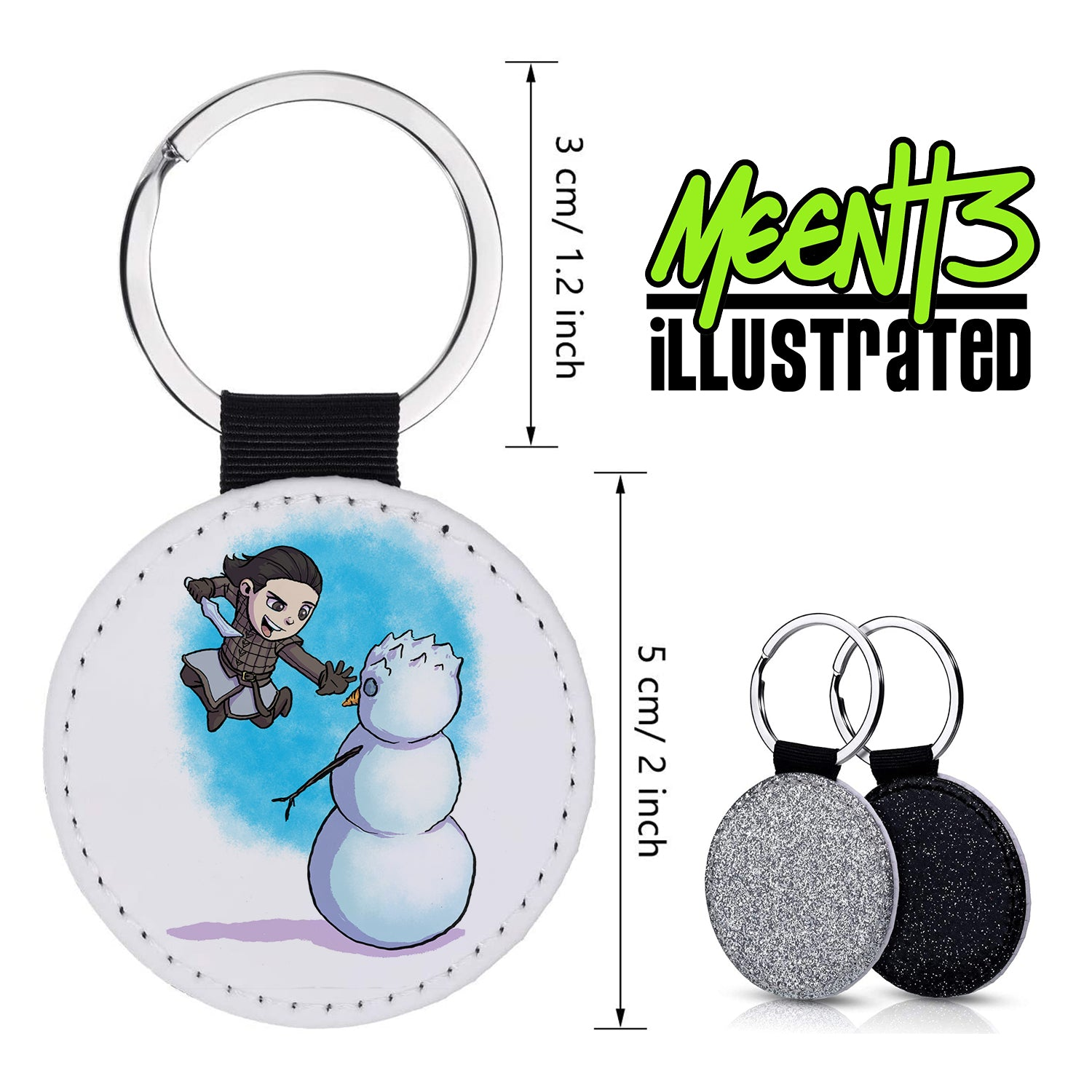 Arya - Character Art - PU Leather Keychain Round with Keyring