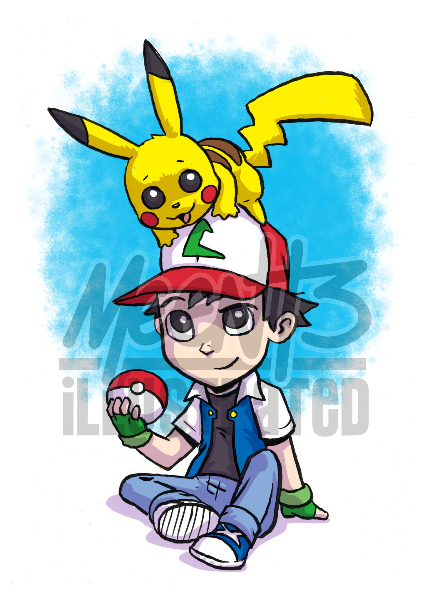 Ash and Pikachu - 5x7 Mini Print