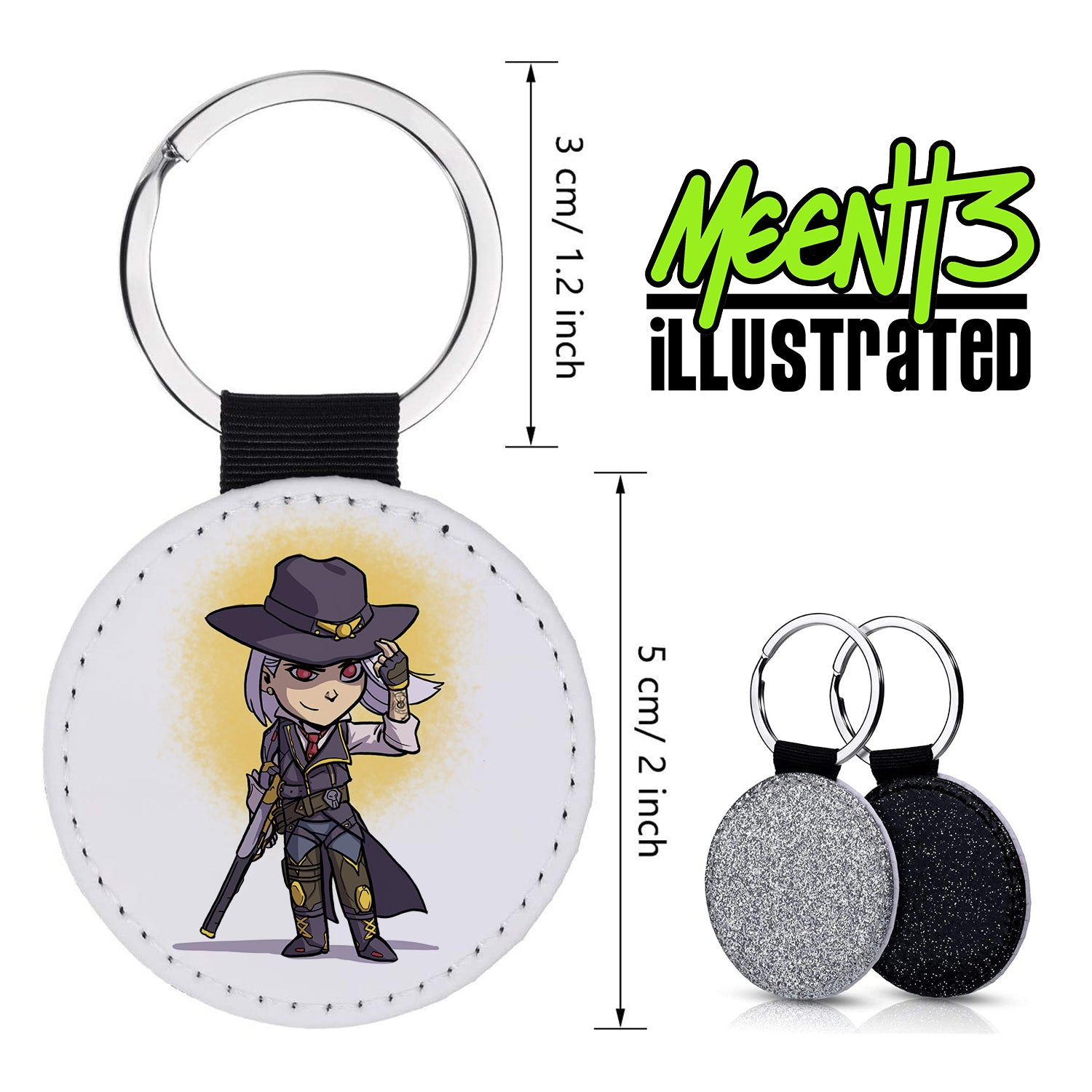 Ashe - Character Art - PU Leather Keychain Round with Keyring