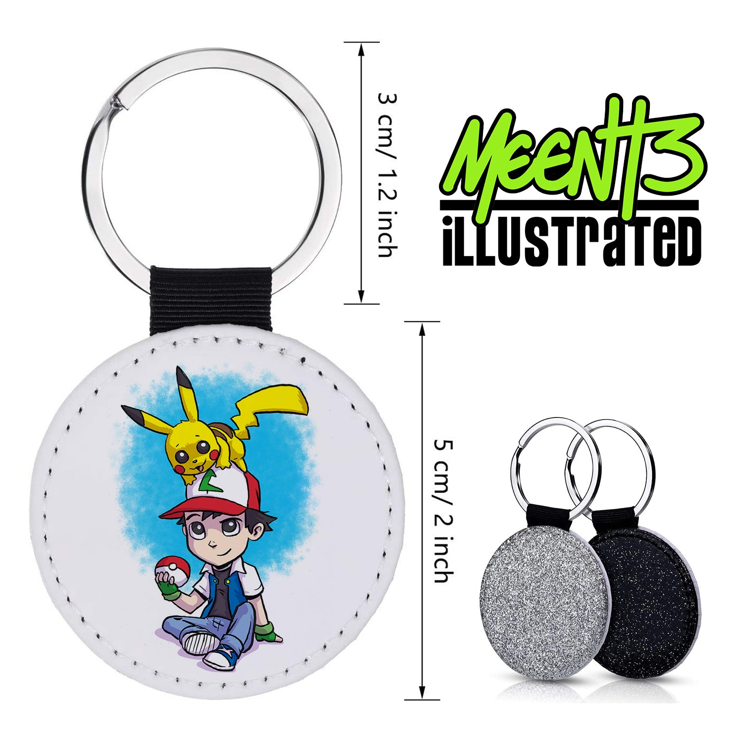 Ash Pika - Character Art - PU Leather Keychain Round with Keyring