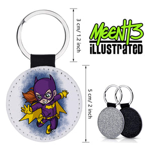 Batgirl - Character Art - PU Leather Keychain Round with Keyring
