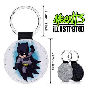Batman - Character Art - PU Leather Keychain Round with Keyring