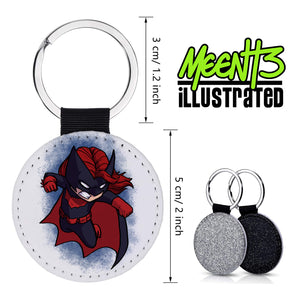 Batwoman - Character Art - PU Leather Keychain Round with Keyring