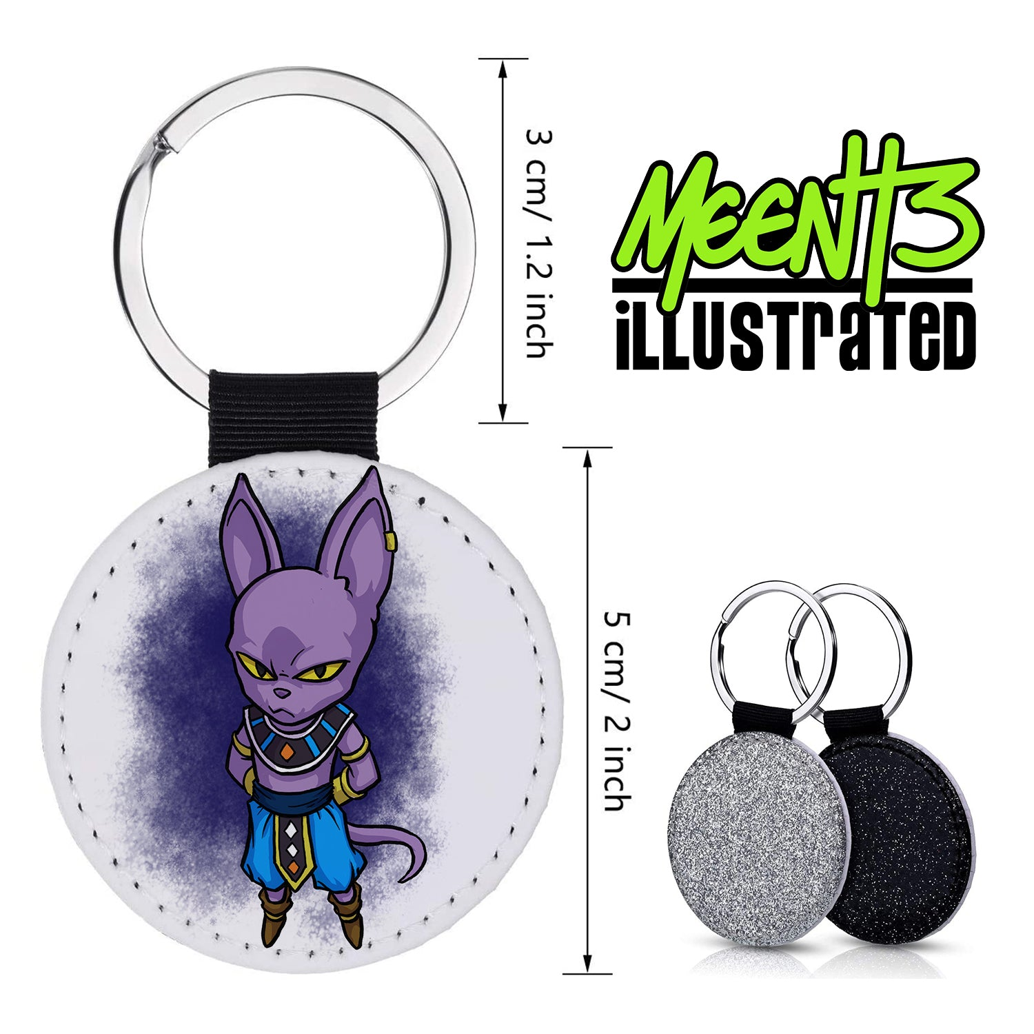 Beervus - Character Art - PU Leather Keychain Round with Keyring