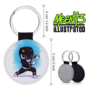 Black Ranger - Character Art - PU Leather Keychain Round with Keyring
