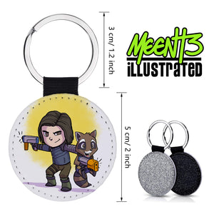 Bucky & Rocket - Character Art - PU Leather Keychain Round with Keyring