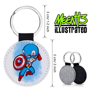 Captain America - Character Art - PU Leather Keychain Round with Keyring