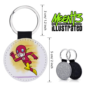 Flash - Character Art - PU Leather Keychain Round with Keyring