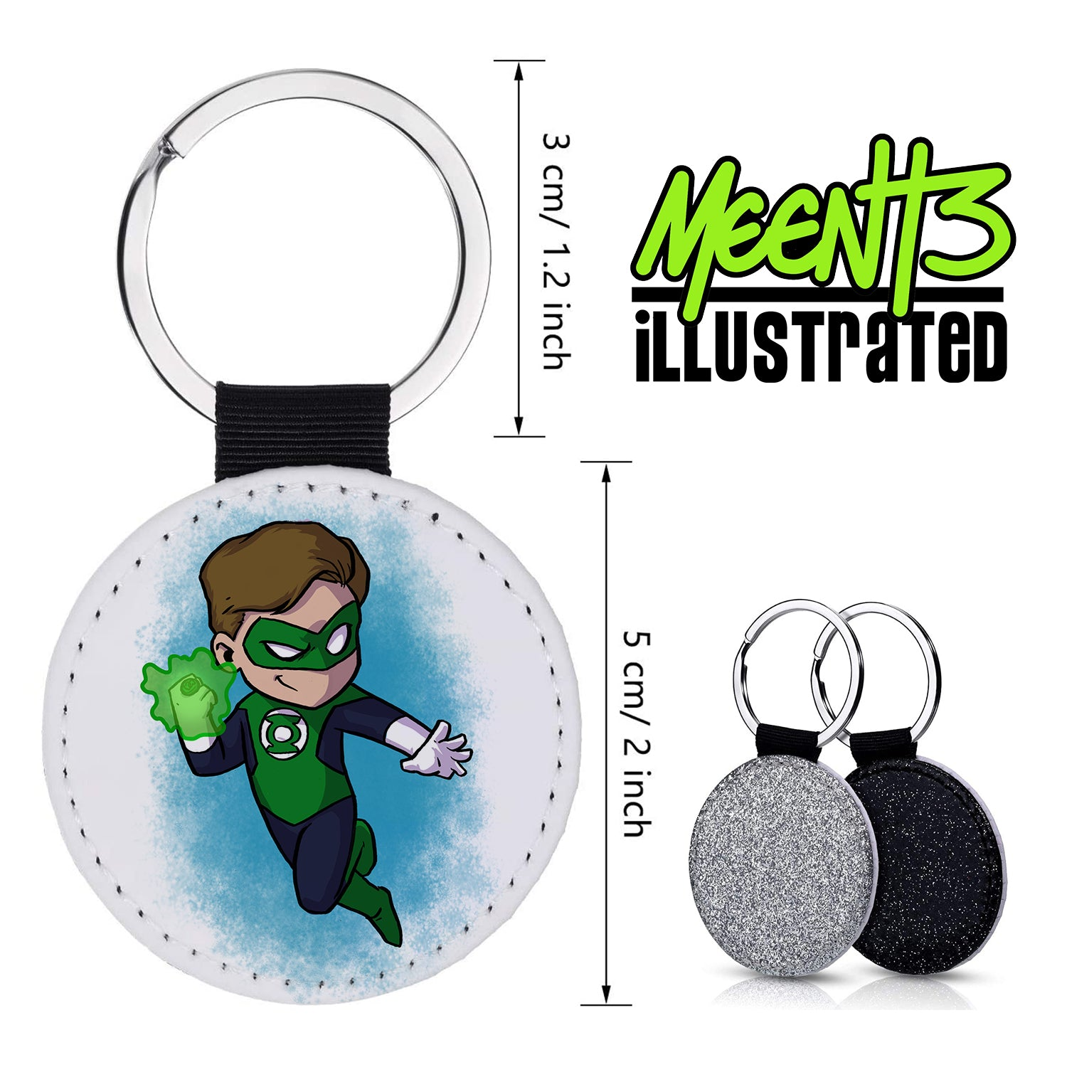 Green Lantern - Character Art - PU Leather Keychain Round with Keyring