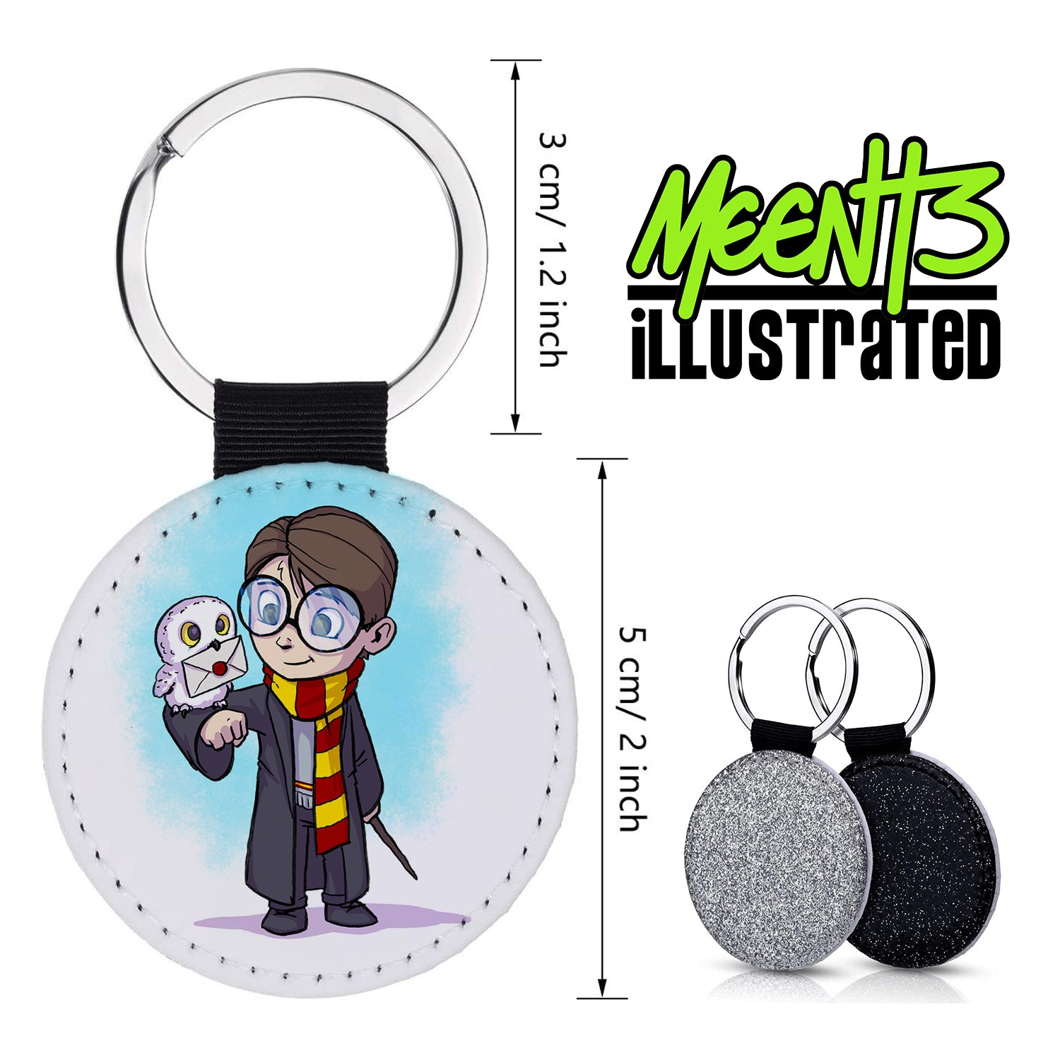 Harry Potter - Character Art - PU Leather Keychain Round with Keyring